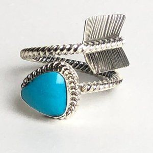 Navajo Nation Sterling Turquoise Arrow Ring S 8-12